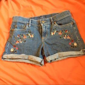 LOFT embroidered denim shorts